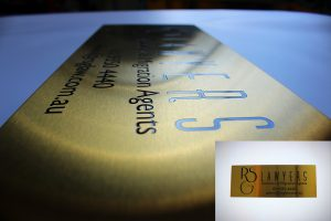 Australian Engraving Acid Etched Gold Stainless Steel Wall Plaque commercial signage